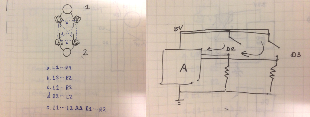 Sketch of different contacts.  Schematic of the two switches with help from Benedetta.