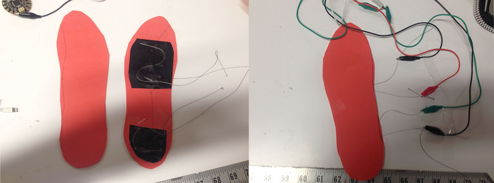 Making the shoe sole sensor.