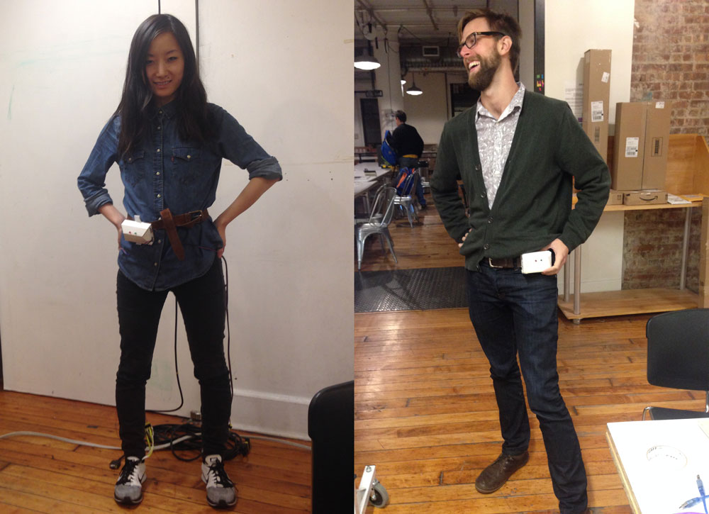 "User testing the controller and casing, which we loving  dubbed ""the fanny pack""."