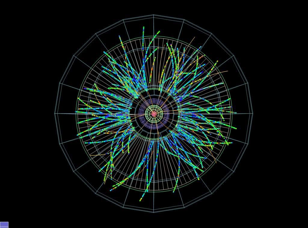 Protons collide with lead ions in the ALICE dectector in the first LHC physics beams of 2013